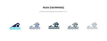 Man Swimming Icon In Different...