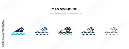 man swimming icon in different style vector illustration Wallpaper Mural