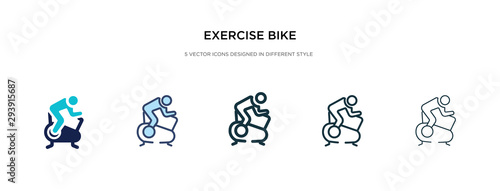 Fototapeta exercise bike icon in different style vector illustration. two colored and black exercise bike vector icons designed in filled, outline, line and stroke style can be used for web, mobile, ui obraz