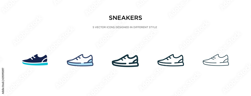 Fototapeta sneakers icon in different style vector illustration. two colored and black sneakers vector icons designed in filled, outline, line and stroke style can be used for web, mobile, ui