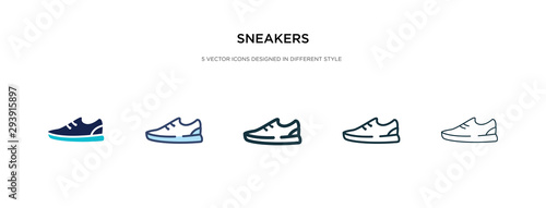 sneakers icon in different style vector illustration. two colored and black sneakers vector icons designed in filled, outline, line and stroke style can be used for web, mobile, ui