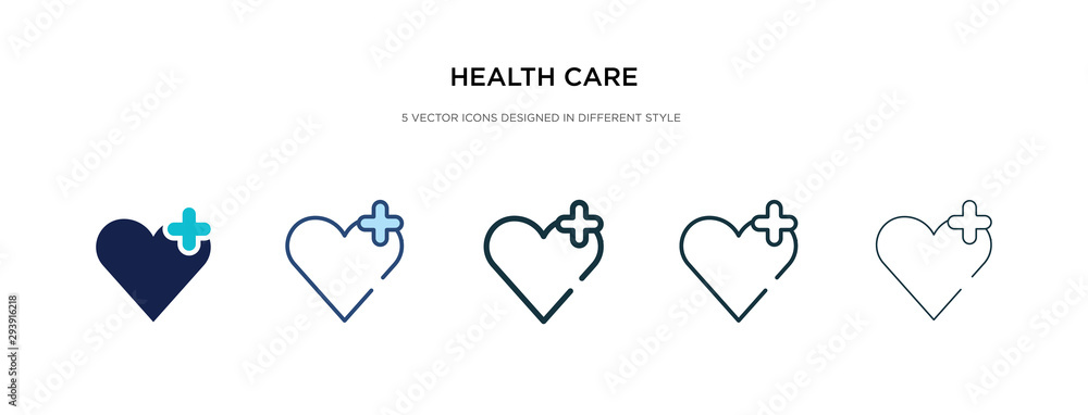 Fototapeta health care icon in different style vector illustration. two colored and black health care vector icons designed in filled, outline, line and stroke style can be used for web, mobile, ui