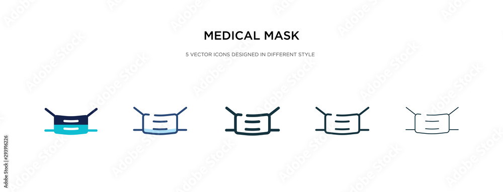 Fototapeta medical mask icon in different style vector illustration. two colored and black medical mask vector icons designed in filled, outline, line and stroke style can be used for web, mobile, ui