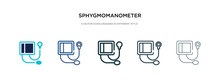 Sphygmomanometer Icon In Different Style Vector Illustration. Two Colored And Black Sphygmomanometer Vector Icons Designed In Filled, Outline, Line And Stroke Style Can Be Used For Web, Mobile, Ui