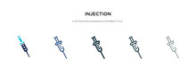 Injection Icon In Different Style Vector Illustration. Two Colored And Black Injection Vector Icons Designed In Filled, Outline, Line And Stroke Style Can Be Used For Web, Mobile, Ui