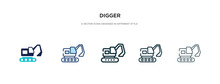 Digger Icon In Different Style Vector Illustration. Two Colored And Black Digger Vector Icons Designed In Filled, Outline, Line And Stroke Style Can Be Used For Web, Mobile, Ui