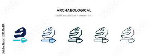 archaeological icon in different style vector illustration Wallpaper Mural