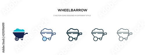 Cuadros en Lienzo wheelbarrow icon in different style vector illustration