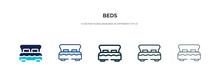 Beds Icon In Different Style Vector Illustration. Two Colored And Black Beds Vector Icons Designed In Filled, Outline, Line And Stroke Style Can Be Used For Web, Mobile, Ui