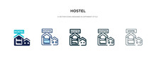 Hostel Icon In Different Style Vector Illustration. Two Colored And Black Hostel Vector Icons Designed In Filled, Outline, Line And Stroke Style Can Be Used For Web, Mobile, Ui