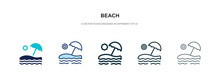 Beach Icon In Different Style Vector Illustration. Two Colored And Black Beach Vector Icons Designed In Filled, Outline, Line And Stroke Style Can Be Used For Web, Mobile, Ui