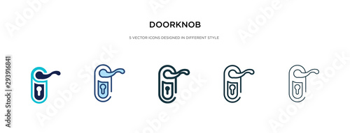 Obraz doorknob icon in different style vector illustration. two colored and black doorknob vector icons designed in filled, outline, line and stroke style can be used for web, mobile, ui - fototapety do salonu