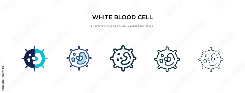 Fototapeta white blood cell icon in different style vector illustration. two colored and black white blood cell vector icons designed in filled, outline, line and stroke style can be used for web, mobile, ui