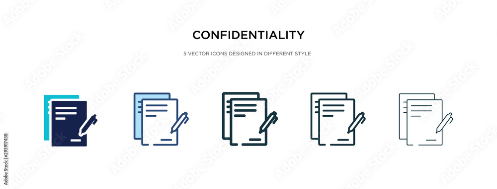 Fototapeta confidentiality agreement icon in different style vector illustration. two colored and black confidentiality agreement vector icons designed in filled, outline, line and stroke style can be used for