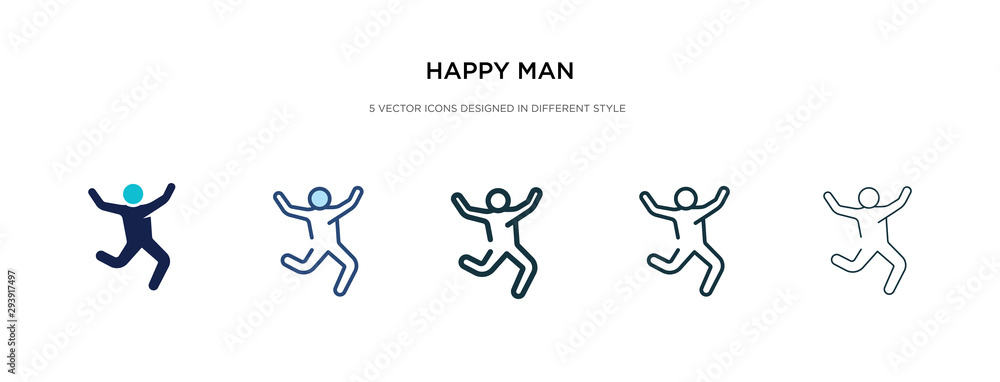 Fototapeta happy man icon in different style vector illustration. two colored and black happy man vector icons designed in filled, outline, line and stroke style can be used for web, mobile, ui