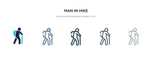 Man In Hike Icon In Different ...
