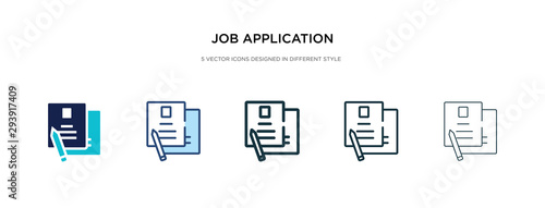 Photo job application icon in different style vector illustration