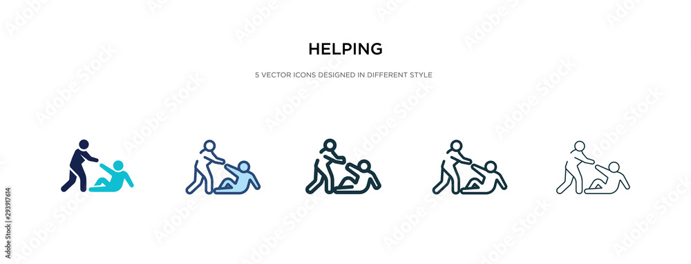 Fototapeta helping icon in different style vector illustration. two colored and black helping vector icons designed in filled, outline, line and stroke style can be used for web, mobile, ui