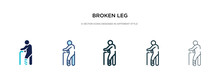 Broken Leg Icon In Different Style Vector Illustration. Two Colored And Black Broken Leg Vector Icons Designed In Filled, Outline, Line And Stroke Style Can Be Used For Web, Mobile, Ui