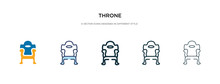 Throne Icon In Different Style Vector Illustration. Two Colored And Black Throne Vector Icons Designed In Filled, Outline, Line And Stroke Style Can Be Used For Web, Mobile, Ui