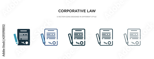 corporative law icon in different style vector illustration. two colored and black corporative law vector icons designed in filled, outline, line and stroke style can be used for web, mobile, ui