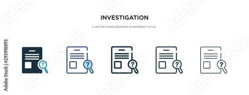 Leinwand Poster investigation icon in different style vector illustration