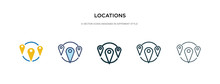 Locations Icon In Different Style Vector Illustration. Two Colored And Black Locations Vector Icons Designed In Filled, Outline, Line And Stroke Style Can Be Used For Web, Mobile, Ui