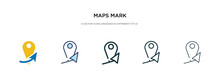 Maps Mark Icon In Different Style Vector Illustration. Two Colored And Black Maps Mark Vector Icons Designed In Filled, Outline, Line And Stroke Style Can Be Used For Web, Mobile, Ui