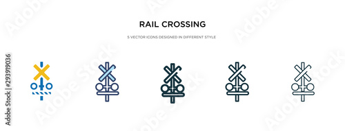 Fotografía rail crossing icon in different style vector illustration