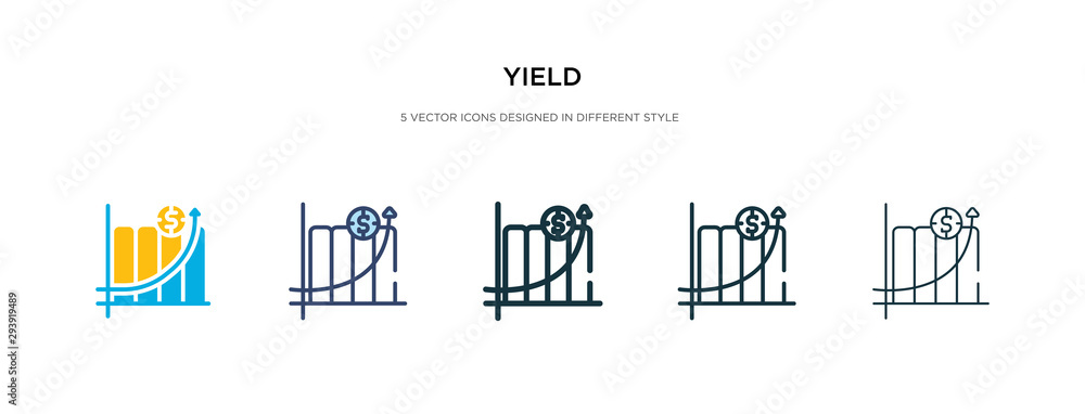 Fototapeta yield icon in different style vector illustration. two colored and black yield vector icons designed in filled, outline, line and stroke style can be used for web, mobile, ui