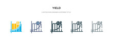 Yield Icon In Different Style Vector Illustration. Two Colored And Black Yield Vector Icons Designed In Filled, Outline, Line And Stroke Style Can Be Used For Web, Mobile, Ui