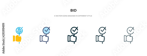 Photo bid icon in different style vector illustration