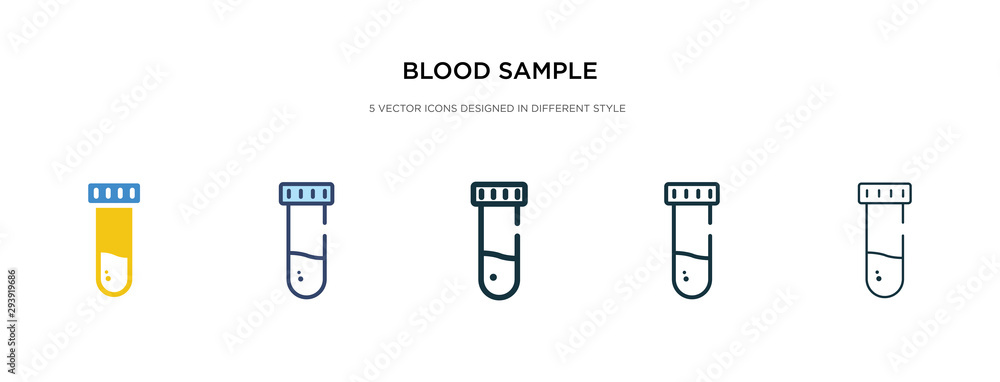 Fototapeta blood sample icon in different style vector illustration. two colored and black blood sample vector icons designed in filled, outline, line and stroke style can be used for web, mobile, ui