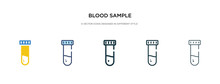 Blood Sample Icon In Different Style Vector Illustration. Two Colored And Black Blood Sample Vector Icons Designed In Filled, Outline, Line And Stroke Style Can Be Used For Web, Mobile, Ui