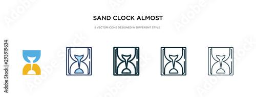 Fotografía sand clock almost finish icon in different style vector illustration