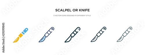 Fotografia scalpel or knife medical surgery cutting tool icon in different style vector illustration