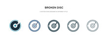 Broken Disc Icon In Different Style Vector Illustration. Two Colored And Black Broken Disc Vector Icons Designed In Filled, Outline, Line And Stroke Style Can Be Used For Web, Mobile, Ui