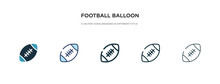 Football Balloon Icon In Different Style Vector Illustration. Two Colored And Black Football Balloon Vector Icons Designed In Filled, Outline, Line And Stroke Style Can Be Used For Web, Mobile, Ui
