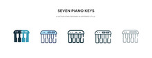 Seven Piano Keys Icon In Diffe...