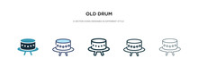 Old Drum Icon In Different Style Vector Illustration. Two Colored And Black Old Drum Vector Icons Designed In Filled, Outline, Line And Stroke Style Can Be Used For Web, Mobile, Ui