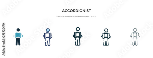 Vászonkép  accordionist icon in different style vector illustration
