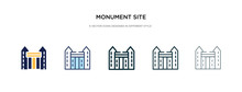 Monument Site Icon In Different Style Vector Illustration. Two Colored And Black Monument Site Vector Icons Designed In Filled, Outline, Line And Stroke Style Can Be Used For Web, Mobile, Ui