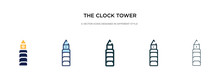 The Clock Tower Icon In Different Style Vector Illustration. Two Colored And Black The Clock Tower Vector Icons Designed In Filled, Outline, Line And Stroke Style Can Be Used For Web, Mobile, Ui