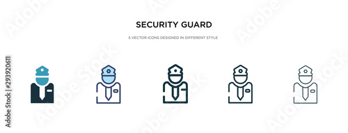 Fotografia security guard icon in different style vector illustration