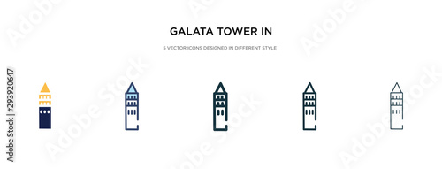 Carta da parati galata tower in istanbul icon in different style vector illustration