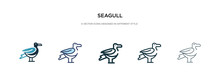 Seagull Icon In Different Style Vector Illustration. Two Colored And Black Seagull Vector Icons Designed In Filled, Outline, Line And Stroke Style Can Be Used For Web, Mobile, Ui
