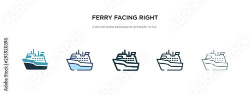 Obraz na plátne ferry facing right icon in different style vector illustration
