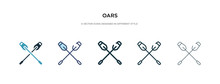 Oars Icon In Different Style Vector Illustration. Two Colored And Black Oars Vector Icons Designed In Filled, Outline, Line And Stroke Style Can Be Used For Web, Mobile, Ui