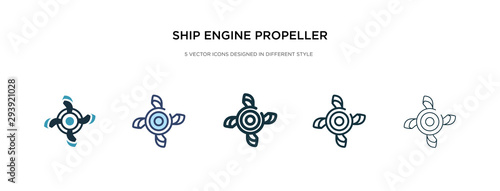 Fotografía ship engine propeller icon in different style vector illustration