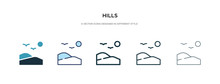 Hills Icon In Different Style Vector Illustration. Two Colored And Black Hills Vector Icons Designed In Filled, Outline, Line And Stroke Style Can Be Used For Web, Mobile, Ui